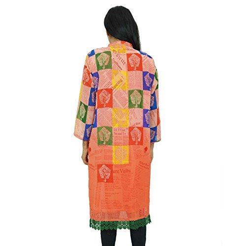 Digital Impreso Kurti india Kurta Georgette Top túnica de vacaciones Mujeres Clothed desgaste Rojo