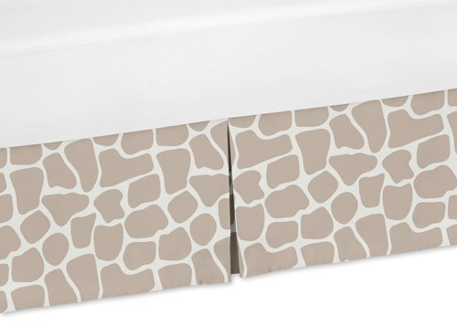 Sweet Jojo Designs Taupe and Off-White Animal Print Crib Bed Skirt Dust Ruffle for Giraffe Collection Bedding Sets