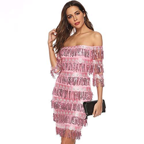 Chartou Womens Cute Off The Shoulder Sequin Fringe Mini Short Dresses Evening Gown (Pink, X-Large)