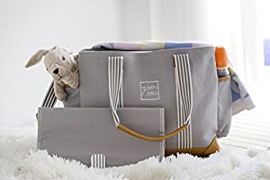Diaper Bag for Girls and Boys Best Baby Shower Gift by 7Senses Large Capacity Baby Bag Diaper Tote Stroller Straps and 10 Pockets Nappy Bag Grey Plus Changing Pad