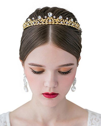 SWEETV Crystal Wedding Tiara for Bride - Princess Tiara Headband Pageant Crown, Bridal Hair Jewelry for Women and Girls, Gold]()