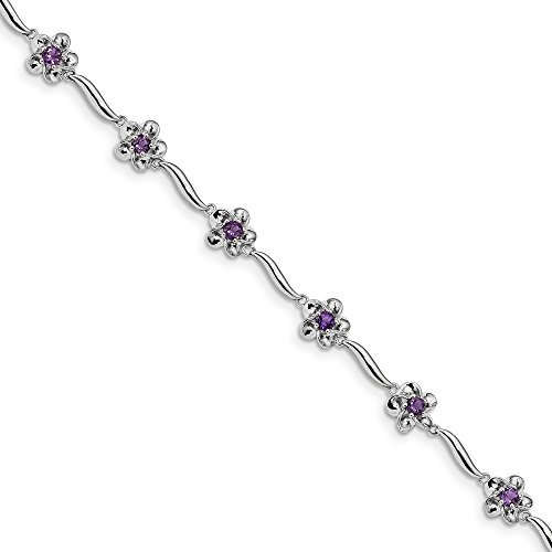(925 Sterling Silver Floral Purple Amethyst Bracelet 7.5 Inch Flower Gemstone Fine Jewelry Gifts For Women For Her)