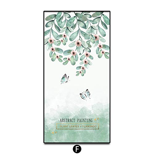 - Nordic Green Flowers Plants Modern Pictures Painting Art Canvas Printing Wall Posters for Living Room Home Decorative Framed,40x80cm (Framed),F