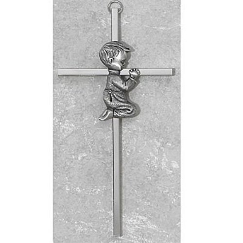 Silver Tone Cross with Praying Boy, 6 - Baptism Gifts Catholic