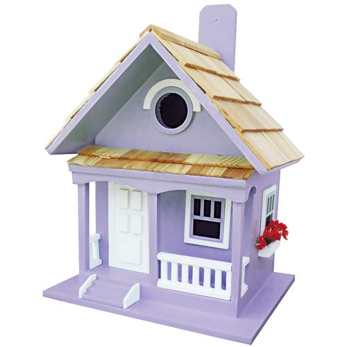 Leisure Traders Cottage Design Mounted Bird House purplec