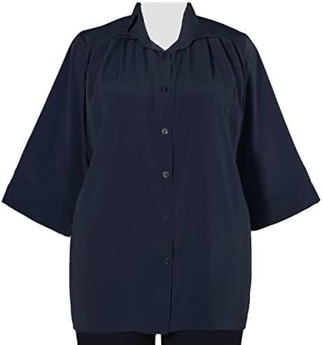 Navy 3/4 Sleeve Tunic Plus Size Woman's Blouse