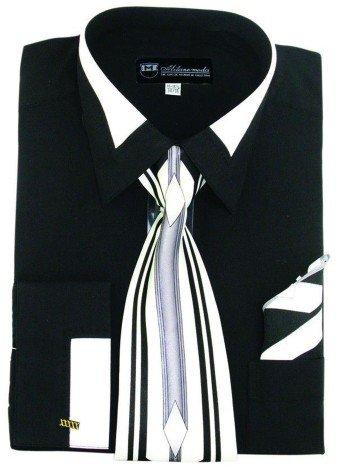Milano Moda High Fashion Dress Shirt with Contrast Design Tie, Hankie & Cuffs Black-18-18 1/2-34-35