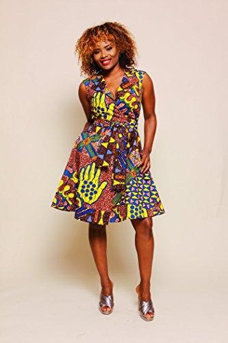 Women's African Print Wrap Dress - Rust by suakoko betty