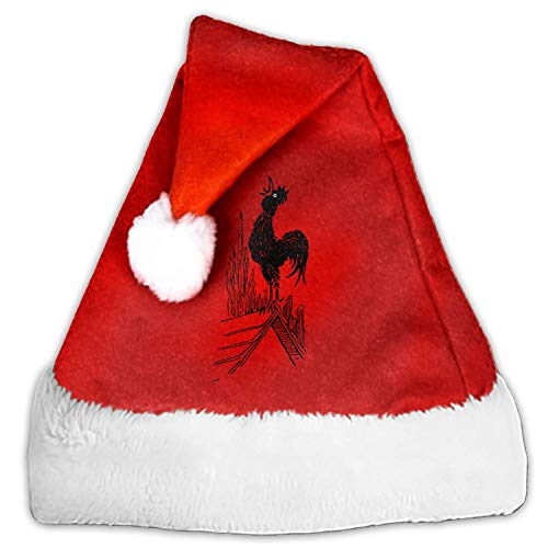 1 Pack Bird Black Chant Rooster Santa Hat Adult/Kid Size Winter Plush New Years Xmas Christmas Party Santa Hats Cap ()