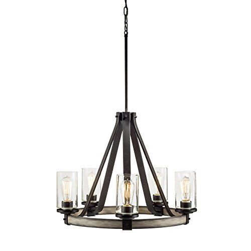 Barrington 5-Light Anvil Iron and Driftwood Rustic Clear Glass Candle Chandelier 24.02-in