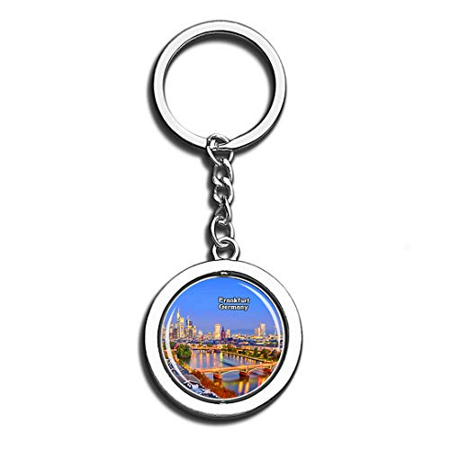 Frankfurt Main River Germany Beauty 3D Crystal Creative Keychain Spinning Round Good Stainless Steel Key Chain Ring Travel City Souvenir Collection]()