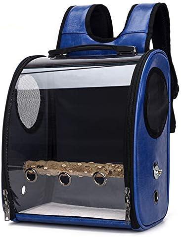 B-1 Umhängetasche Für Hunde Und Katze, Haustier-Tragetasche Für Papageien Und Vögel Transparent Atmungsaktiv 360 ° Sightseeingung,Blau