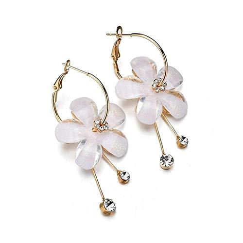 fublousRR5 Women's Huggie Earrings, Rhinestone Flower Long Tassel Pendant Huggie Earrings Statement Elegant Party Jewelry Accessories Gifts