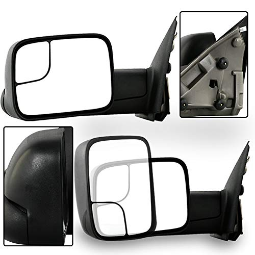 (Make Auto Parts Manufacturing Left/Driver Side DOOR MIRROR Manual Operated Manual Folding Textured Black For Dodge Ram 1500 2002-2009, Ram 2500 2004-2009, Ram 3500 2004-2009 -)