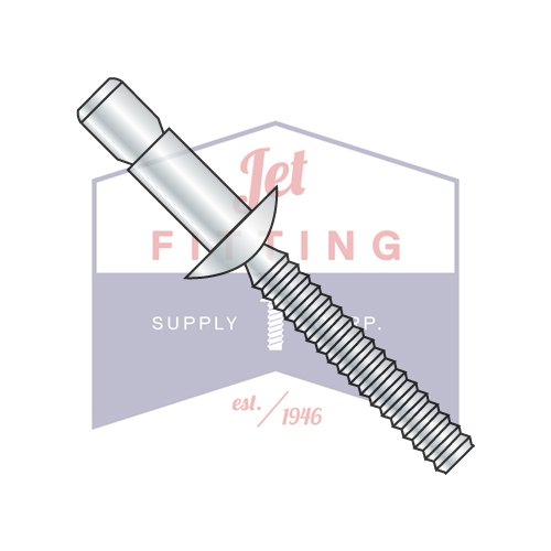 3/16X.062 .437 Structural Rivets | All Steel | Protruding Head | Sleeve Finish: Zinc Plated Clear Chromate | Rivet Sleeve: Low Carbon Steel | Pin: Medium Carbon Steel (QUANTITY: 3000) by Jet Fitting & Supply Corp