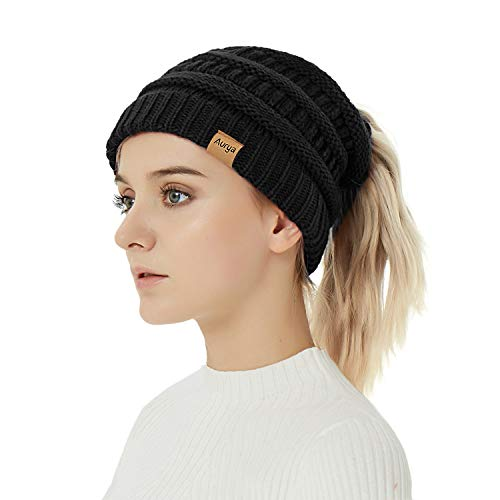 Aurya Cable Knit Ponytail Messy Bun Beanie Womens Trendy Warm Stretchy Winter Beanie Hat Cap