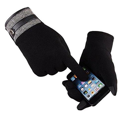 Men Thermal Winter Motorcycle Ski Snow Snowboard Gloves Fashion Winter Outdoor Sport Warm Waterproof (Black)