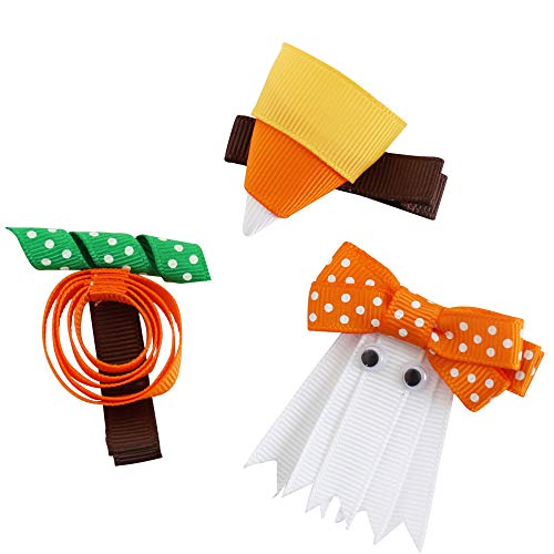 juDanzy Holiday Hair Clips & Bows in Easter, Valentines, Thanksgiving & Christmas themes for baby, toddler & Girls (Halloween Trio) -