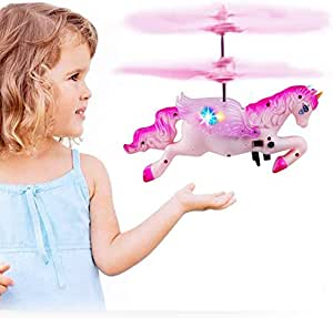 infinitoo Flying Helicopter Unicorn Drone Toy with USB Rechargeable Mini Infrared Induction, Hand Control, Fairy Tale Doll Birthday gift