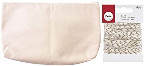 Estuche de algodón 19 x 29 cm + Cordel Dorado & Blanco 15 m: Amazon.es: Hogar