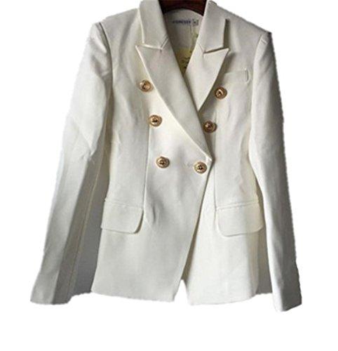 JIANGTAOLANG Blazer Women's Gold Buttons Double Breasted Blazer Size S-XXL White ()