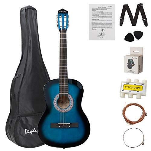 Display4top 38 Inch Acoustic Guitar Bundle Kit for Starter Beginner Music Lovers,With Guitar Case,Tuner, Strap, Extra Strings, Pick and Pitch Pipea(Blue)