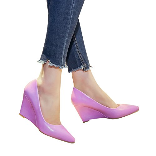Women's Pointed Toe Wedge Heel Pump Elegant Court Shoes Office Business Purple AW6Xz