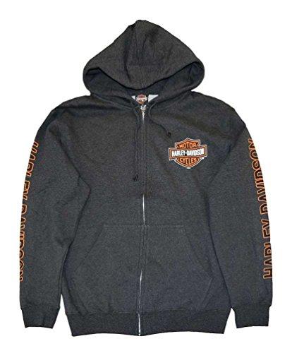 Harley-Davidson Men's Hooded Sweatshirt, Bar & Shield Zip, Gray 30299143 (2XL)