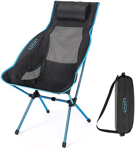 G4Free Lightweight Folding High Back Camping Chair with Headrest, Portable Compact for Outdoor Camp, Travel, Picnic, Festival, Hiking, Backpacking Blue