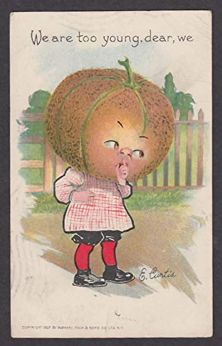 (Can't Elope Cantaloupe pun Raphael Tuck & Sons Valentine postcard 1908 E Curtis)