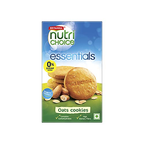 Britannia NutriChoice Essentials Oats Cookies with no added sugar(Diabetic Friendly Biscuits), 150g