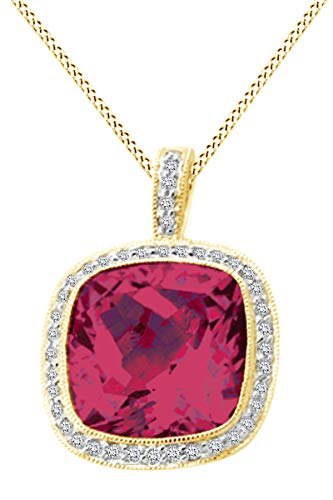 Ruby 14k Yg Clasp - Cushion Cut Simulated Ruby Halo Pendant Necklace in 14K Solid Yellow Gold (7.45 cttw)