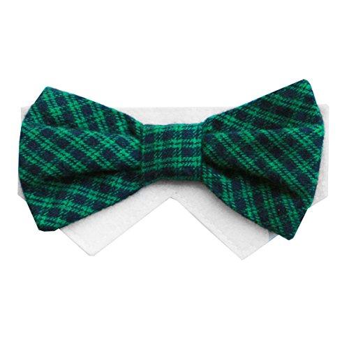 Plaid Bow Tie Pet Costumes (Green Plaid Dog Bow Tie Collar Slider Sunday (Medium))