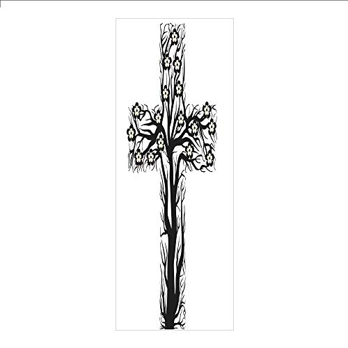 3D Decorative Film Privacy Window Film No Glue,Baptism,Floral Christian Cross in Tree Shape Christ Religion Prayer Blessed Miracle Symbol,Black Cream,for Home&Office