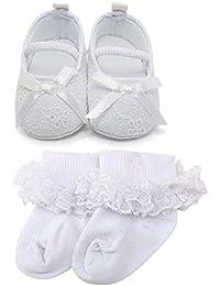 Baby Girl Infant Satin Mary Jane Baptism Shoes Dance Ballerina Slippers