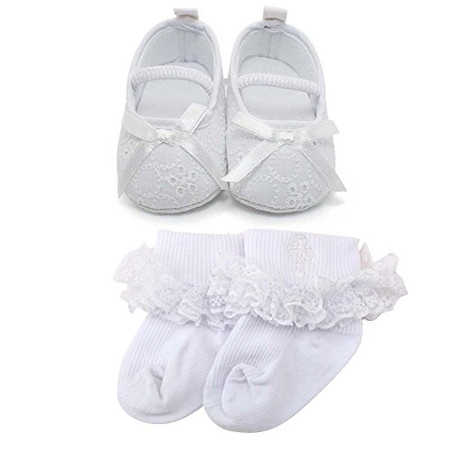 Delebao Baby Girl Infant Satin Mary Jane Baptism Shoes Dance Ballerina Slippers (9-12 Months, Shoes & Socks) (White Booties Girls)