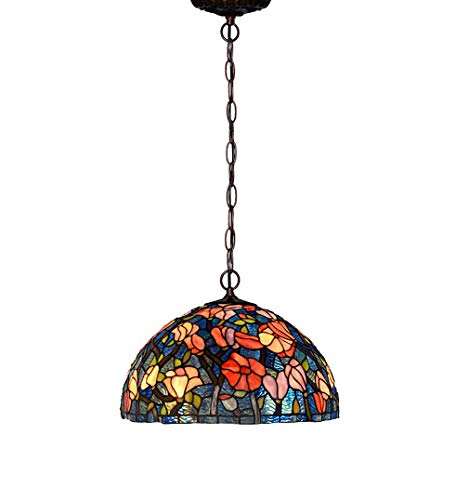 (ChuanHan 16-Inch Chandelier/Hanging Light, Tiffany Style Pendent Lamps, European Style Antique Stained Glass Single Head Pendent Light for Bar, Dining Room, Kitchen, E27, Max40W)