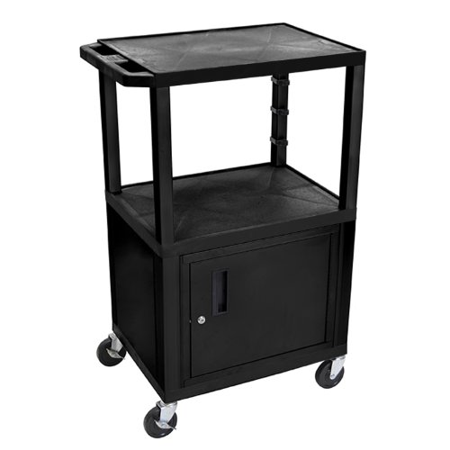 H Wilson WT42C2E 3-Shelf AV Cart with Cabinet, Tuffy, 42