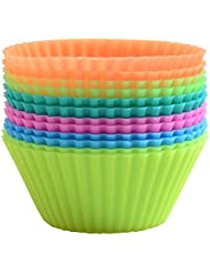 CHICHIC Non-Stick Reusable Silicone Baking Cups Cupcake Liners Muffin Cups, 6 Assorted Colors, Round, Set of 12