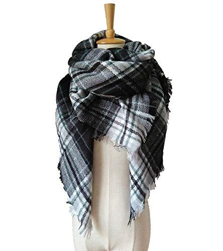 White Black Scarf (WINCAN Soft Warm Tartan Plaid Scarf Shawl Cape Blanket Scarves Fashion Wrap (black white))