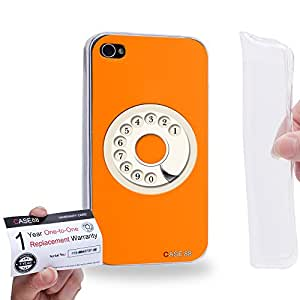 Case88 [Apple iPhone 4 / 4s] Gel TPU Carcasa/Funda & Tarjeta de garantía - Art Hand Drawing Orange Retro Phone 2081