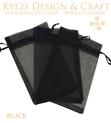 200 Pcs Black 3x4 Sheer Drawstring Organza Bags Jewelry Pouches Wedding Party Favor Gift Bags Gift Bags Candy Bags [Kyezi Design and Craft] for $<!--$13.69-->
