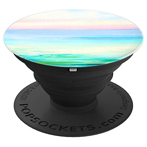 (Watercolor beach scene tropical waves sunset Phone Grip - PopSockets Grip and Stand for Phones and Tablets)