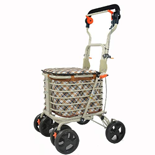 BAIF Shopping Trolleys Shopping cart Trolley Elderly Walkers Four Collapsible Portable cart The Elderly can sit Scooter Hybrid Trucks Luggage cart