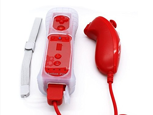2 in1 Wii Controller Built in Motion Plus Remote and Nunchuck Controller (Red Wii)
