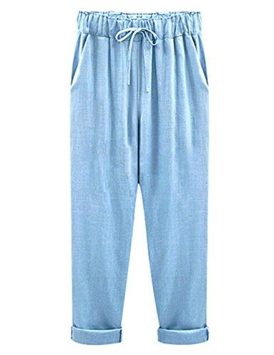 Yeokou Women's Casual Loose Baggy Linen Drawstring Summer Thin Cropped Harem Pants Blue ()