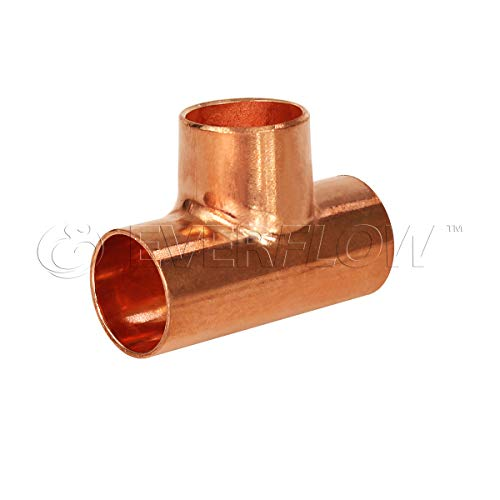 - Everflow Supplies CCRT1517 Reducing Tee Fitting with with Solder Cups for Cop, 1-1/2 X 1-1/2 X 3/4, Copper