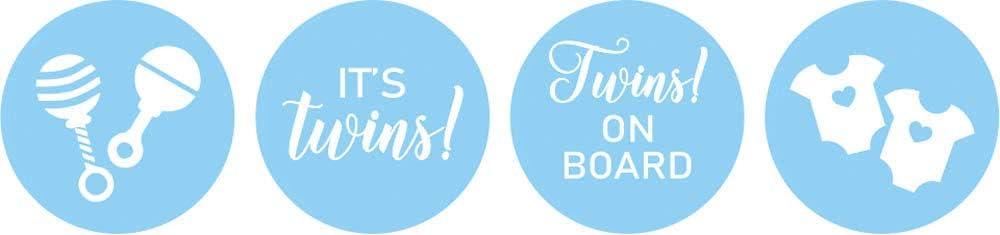 Darling Souvenir DIY Twins Baby Shower Theme/Stickers Hersheys Kisses/Candy Labels 190 Pcs-Medium Blue