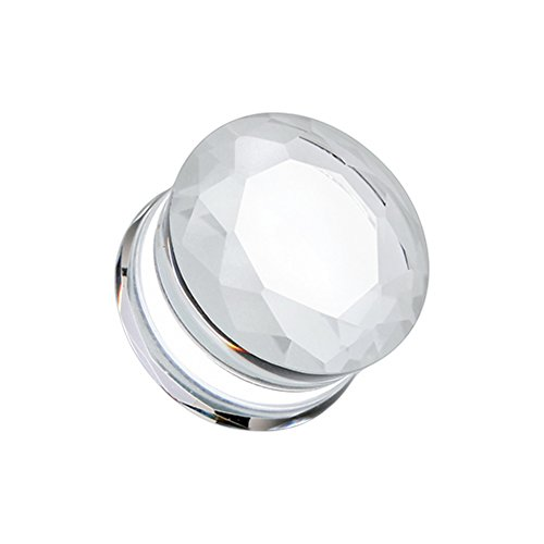 - Faceted Pyrex Glass Gemstone Double Flared WildKlass Ear Gauge Plug (Sold as Pairs)