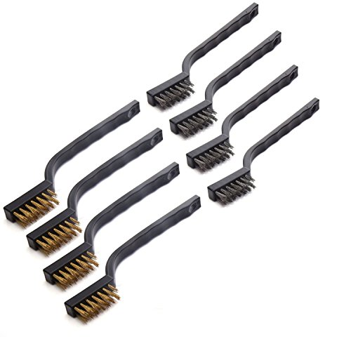 Maosifang 8 Pieces Mini Wire Brush Set for Cleaning Welding Slag and Rust,Stainless Steel and Brass